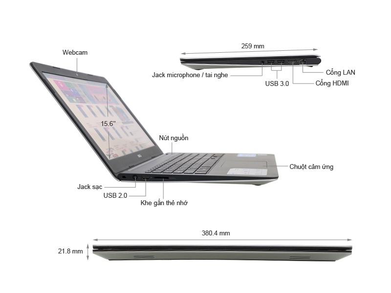 máy tính xách tay Laptop Dell Inspiron N5548-M5I52657