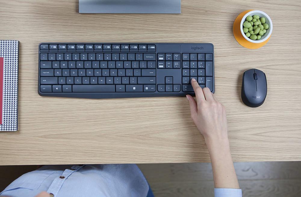 Bộ bàn phím chuột không dây Logitech MK235 (USB-Wireless, Không dây)