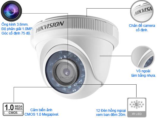 Camera quan sát Dome Hikvison DS-2CE56C0T-IRP