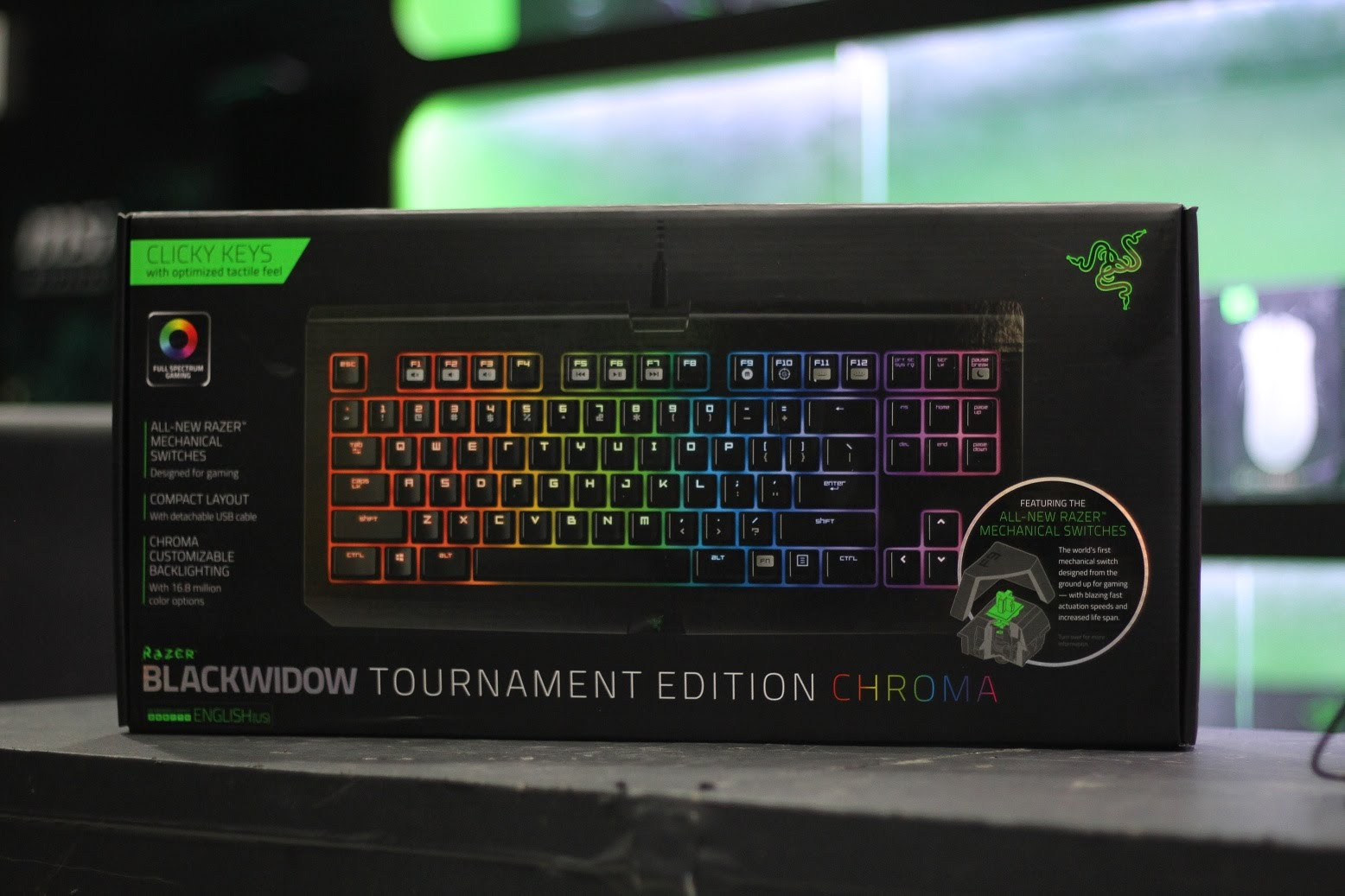 Bàn phím Razer BlackWidow Tournament Edition Chroma RZ03-01430200-R3M1 (USB, Có dây)