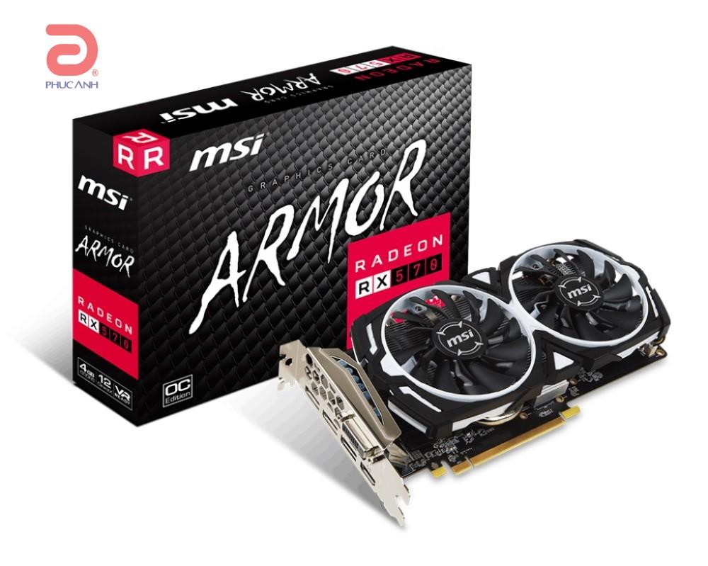 VGA MSI RX 570 ARMOR 4G OC AMD Radeon 4Gb DDR5 256 Bits